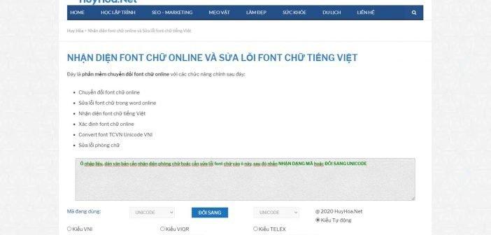 Sửa lỗi font chữ tiếng Việt online trên website của Huy Hòa