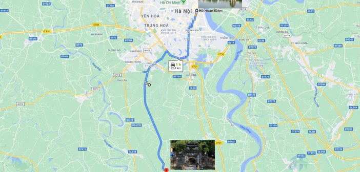Map from Hoan Kiem Lake to Uoc Le Village