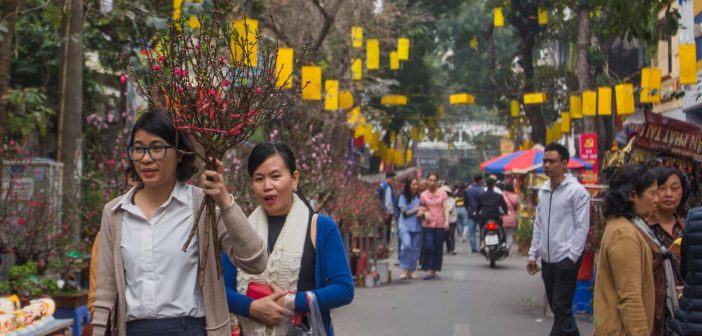 People go to the market to buy peach blossoms at Hang Luoc Tet market