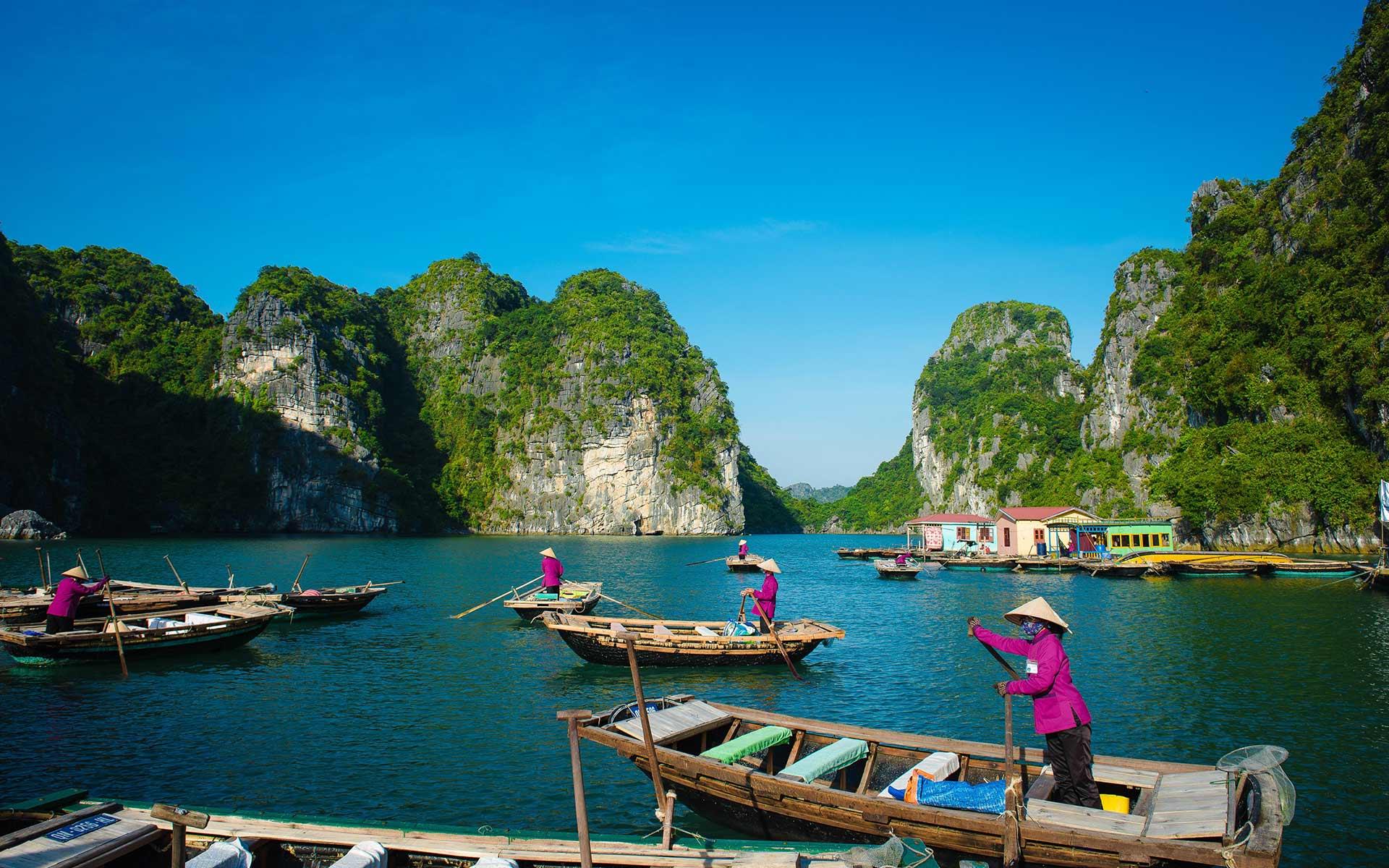 Fishing village in Halong Bay, Vietnam
