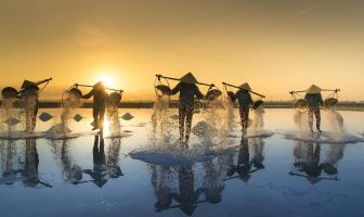 salt farmers are harvesting salt in salt fields on a Vietnamese beach