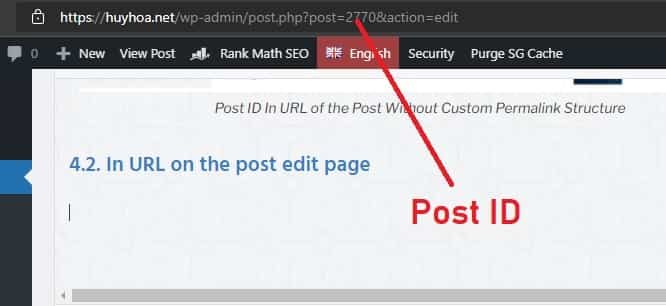 ID In URL on the post edit page
