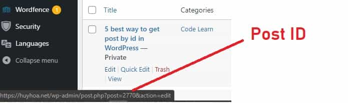 Get post id from browser status bar