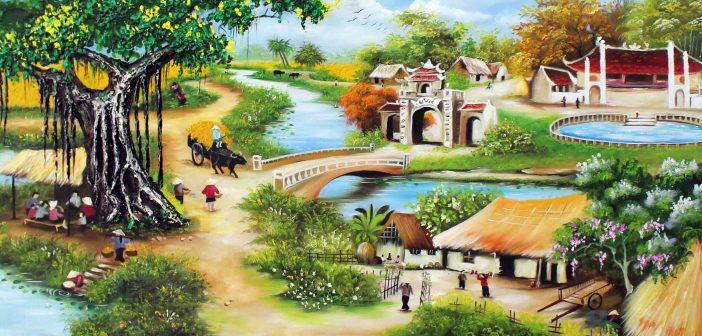 Bức tranh vẽ phong cảnh làng quê