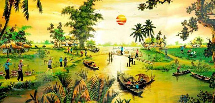 Bức tranh mô tả sinh hoạt của người dân ở miền quê Việt Nam