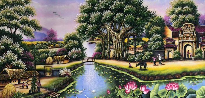 """Bức tranh bằng đá quý """"Cây Đa - Bến Nước - Sân Đình"""""""