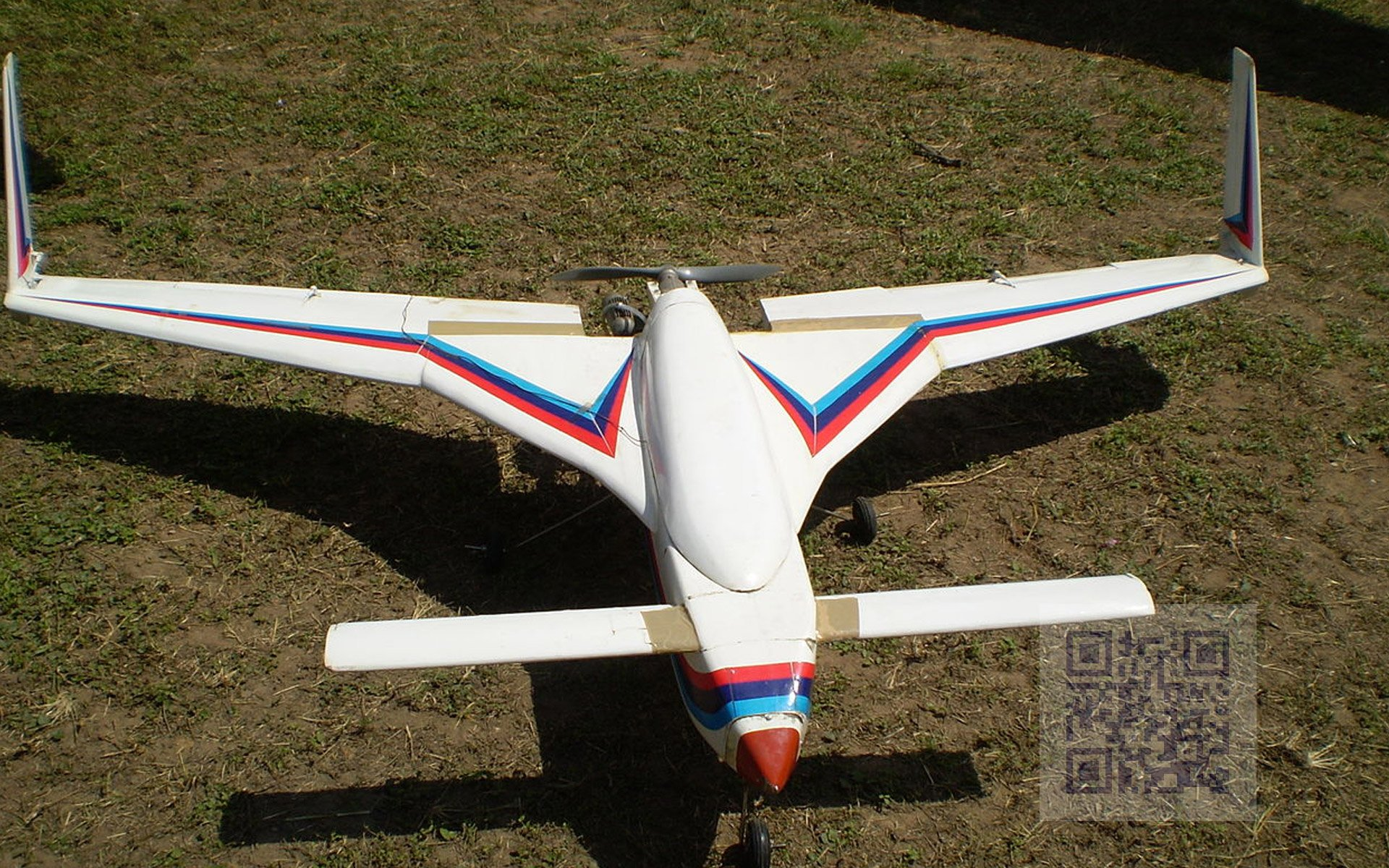 A scaled down model of the Rustom-1 MALE UAV