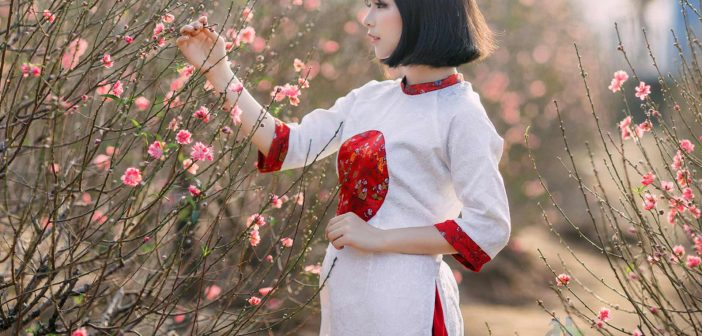 Beautiful Vietnam Girls in Ao Dai in New Year celebration