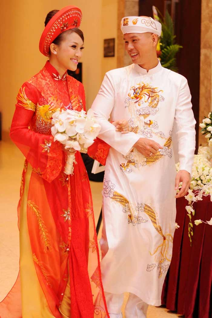 Oriental robe for young married couple of vietnamese tradition