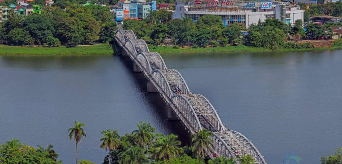 Graceful Truong Tien bridge spanning the Huong river