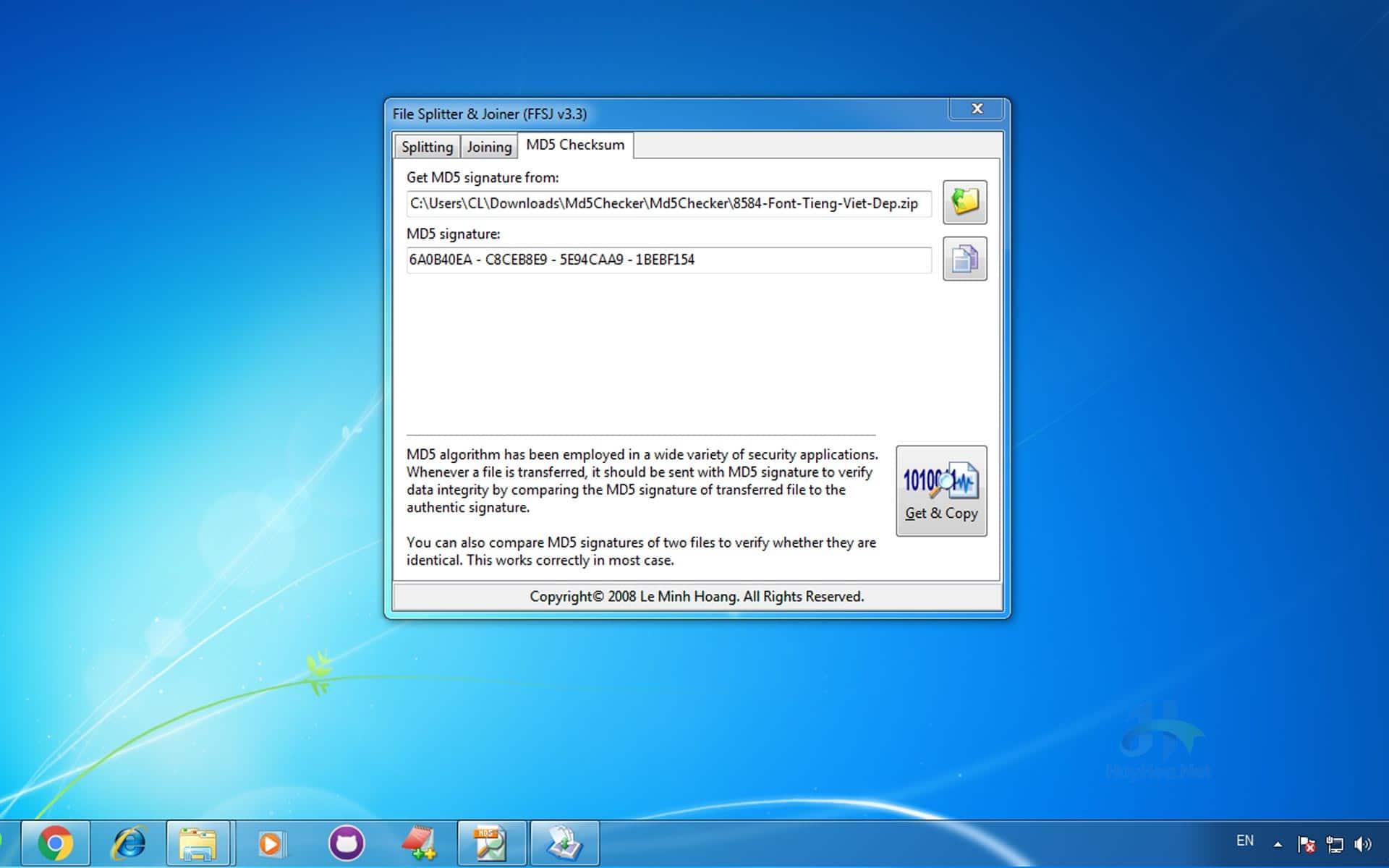 Hướng dẫn check MD5 bằng phần mềm FFSJ