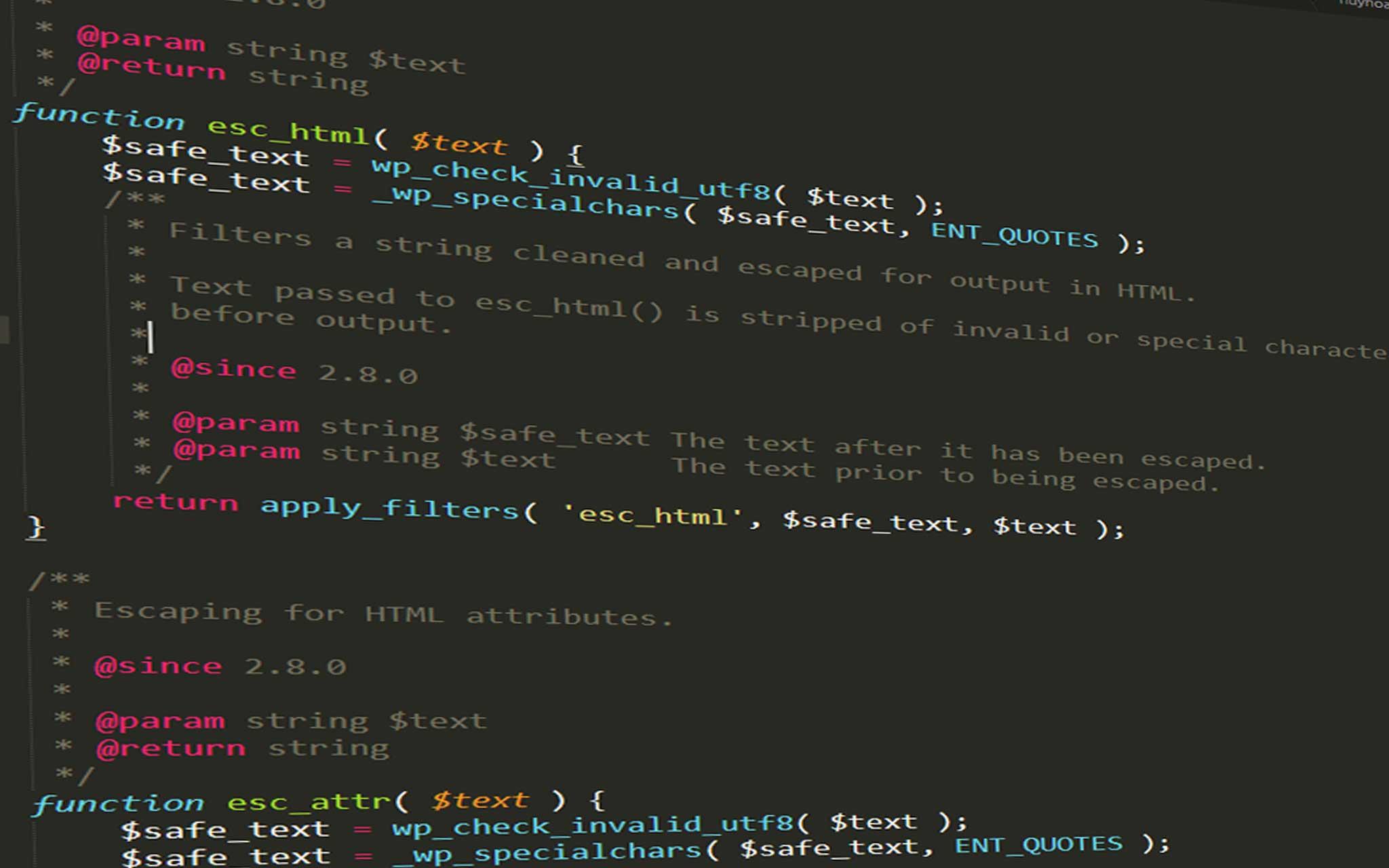 Hướng dẫn sử dụng hàm esc_html() trong WordPress