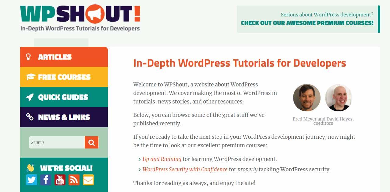 WPShout - Website specializing in providing free WordPress developer training courses